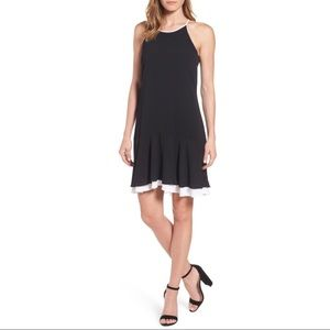 Vince Camuto Black Halter Colorblock Dress